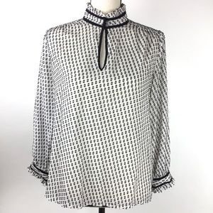 J Crew Women's Silk Blend Long Sleeve Blouse